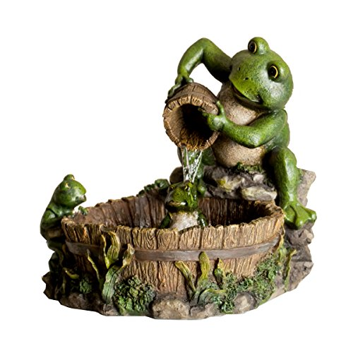 Alpine TT2508 Eternity Tabletop Fountain: Mother Frog Bathing Family