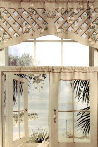 24' Tier Kitchen Curtains - Island Retreat Trompe l'oeil Window Art 24 inch long Tier Curtains
