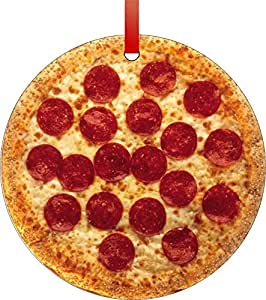 Amazon.com: Pepperoni Pizza-Flat Round Shaped Aluminum Christmas ...