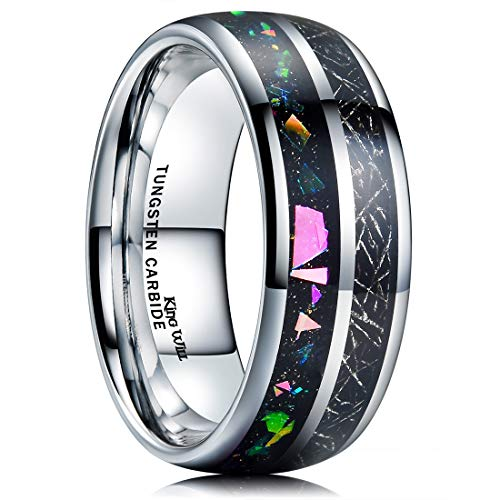 - King Will Nature Mens 8mm Tungsten Carbide Ring Inlaid with Multicolor Fragments & Silver Lines on Black High Polished 8