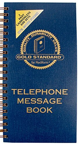Rediform Gold Standard Telephone Message Book, 2.75 x 5 inches, 4 per Page, 600 Messages (50079) by Rediform by Rediform