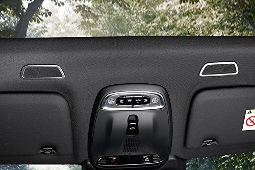 accessoire de voiture compatibilit/é avec v/éhicule avec conduite gauche non garantie 2 pi/èces Garniture int/érieure d/écorative en acier inoxydable pour haut-parleur /à d/ôme de toit avant
