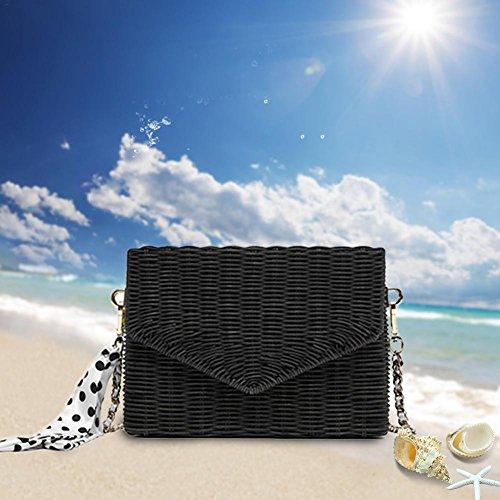 de Negro libre Oshide playa de ratán bolsa actividades de para viaje aire al Bolsa negro TTwxA6t