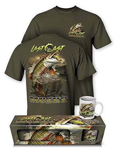 Follow the Action Musky Last Cast Fishing T-Shirt and Mug Gift Set (Large)