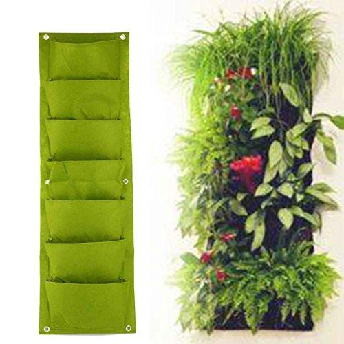 Senua Fabric Pocket Balcony Herbs Vertical Garden Wall Hanging Planter Bag black 72 pot
