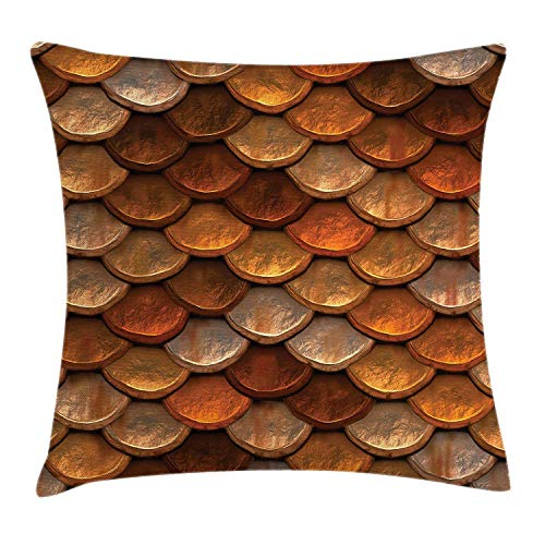 - GRATIANUS Vintage Throw Pillow Cushion Cover, Scale Pattern Medieval Inspirations Half Circles Design Ancient Armor,Square Throw Pillow Case Cushion Cover 18x18 inch, Bronze Gold