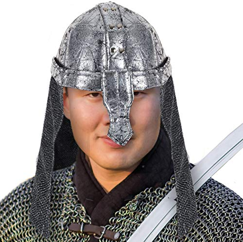 Tigerdoe Knight Helmet - Crusader Costume - Soldier Hat - Medieval Costumes - Warrior Helmet Silver -