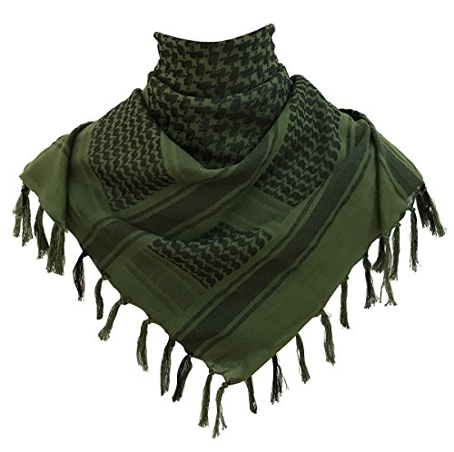 G.S YOZOH Premium Military Shemagh Tactical Desert Keffiyeh 100% Cotton Head Neck Scarf Wrap (Olive Drab)