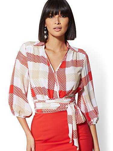 New York & Co. Women's Petite Plaid Belted Wrap Blouse - Large Bell Pepper Red