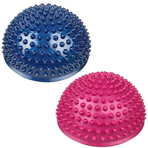 Balance Pods, GTKRTU 2 Pack 6 Inch Hedgehog Balancing Pods Domed Stability Pods Yoga Balance Spiky Ball Massage Hemisphere Ball Foot Fitness Sets – Blue & Pink