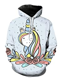 EnlaMorea Teenager Pullover Hoodie Sweatshirt Unicorn Hooded for Boys Girls