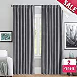 Room Darkening Velvet Curtains for Living Room 63 inches Long Thermal Insulated Window Curtain Set for Bedroom Blackout Velvet Curtains, Back Tab, 2 Panels, Grey Review