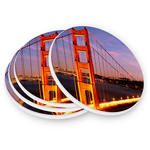 Naanle Brooklyn Bridge New York Heat-resistant Washable Coaster, Prevent Furniture from Dirty and Scratched, Coasters Set Suitable for Kinds of Mugs and Cups, Set of 4]()