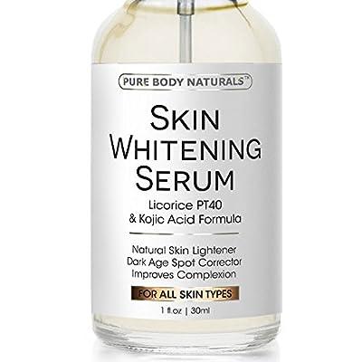 Skin Whitening Serum - Natural Skin Whitening Cream Treatment - Brighten Complexion, Lighten Dark Spots, Reduce Age Spots - Expert Formula Featuring Kojic Acid & Vitamin E - Safe & Effective