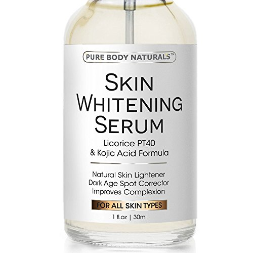 Pure Body Naturals Skin Whitening Serum with Kojic Acid for Treatment of Hyperpigmentation and Dark Spots, 1 Fl. Oz.