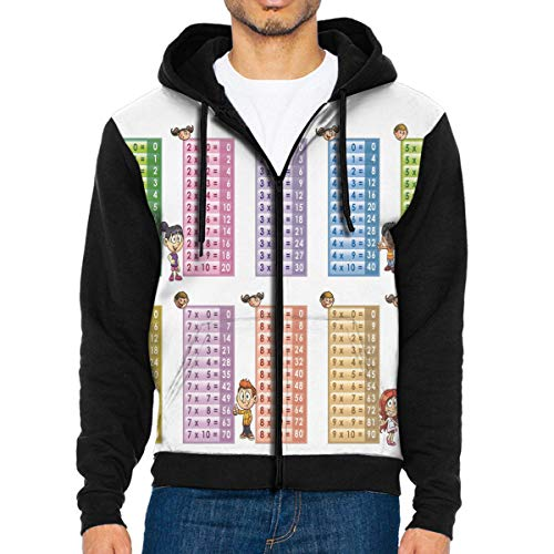 Men Hoodie Multiplication Table PDF Printable Hot Full Zip with Pocket Jackets Lightweight Halloween Black]()
