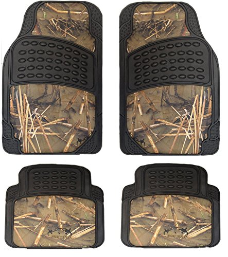 Muddy Water Camouflage 4 Piece Car Truck Floor Mat Set - Universal Fit All Weather WaterProof Rubber Material with Muddy Water Forest Pattern Black Color (Digital Camouflage Floor Mats compare prices)