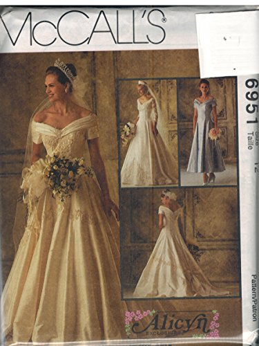 6951 McCalls Sewing Pattern UNCUT Misses Wedding Gown Bridesmaids Dress Size (Mccalls Bridesmaid Patterns)