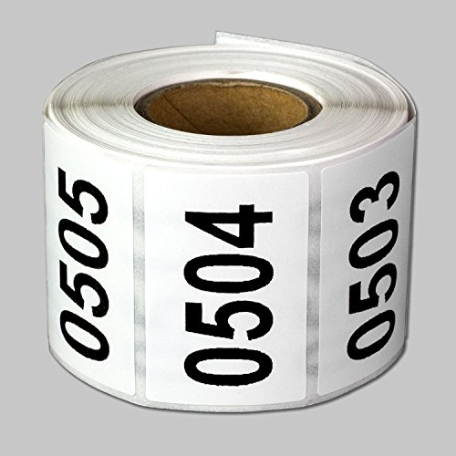 "Consecutive Number Labels Self Adhesive Stickers ""0501 to 1000"" (White Black / 1.5"" x 1"") - 500 labels per package"