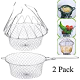 Best oil less turkey fryer work - 2pcs Chef Deep Fry Basket with handle Stainless Review
