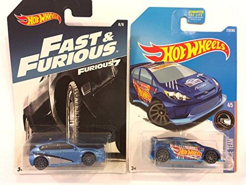 HOT WHEELS FAST & FURIOUS 7 BLUE SUBARU WRX STI 8/8 & BONUS:: HOT WHEELS RACE TEAM 4/5, BLUE '12 FORD FIESTA Wrx Sti Race