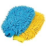 MR. SIGA Microfiber Chenille Cleaning Glove, Pack of 2, Blue & Yellow