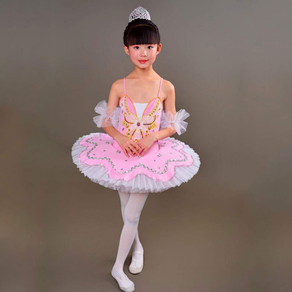 JIE。バレエダンス衣装 - 子供たちバレエ衣装リトルスワンダンスチュチュ子供スリングガルザドレスアクロバットパフォーマンス衣装、ピンク、M B07PDVCHBN
