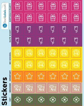 Planner Stickers Calendar Reminder Labels For Organizing Important Dates 1/2 x 1/2 Inch Squares 114 Stickers Per Sheet 10 Sheets 1,140 Total Stickers