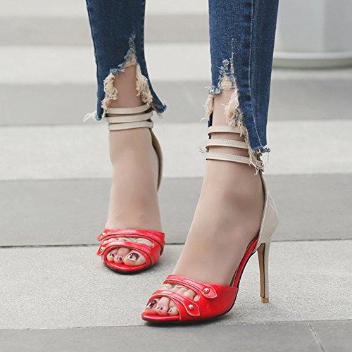 Aisun Cut mit Damen Rot Sandale Out Zehen Offene Stiletto Knöchelriemchen Reißverschluss SZSxwqrnA