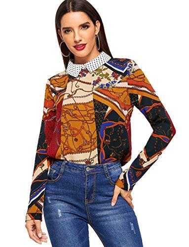 (Romwe Women's Paisley Printed Long Sleeve Collar Casual Chiffon Blouse Shirts Top Multicolor M)