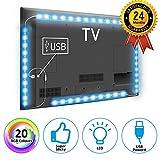 TOP-MAX TV Strip Lights for 40-60 Inch TV, USB Powered TV PC Back Light, 60 RGB LEDs Multi-Color Lighting (2X1.3+2X2 ft)