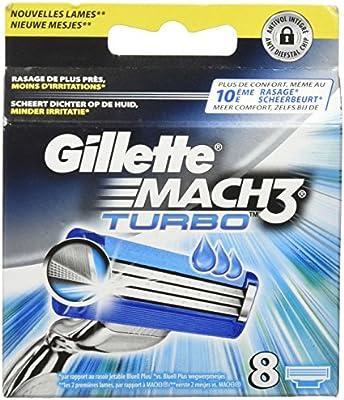 Gillette Mach3 Turbo Cuchillas de afeitar para hombre: Amazon.es ...