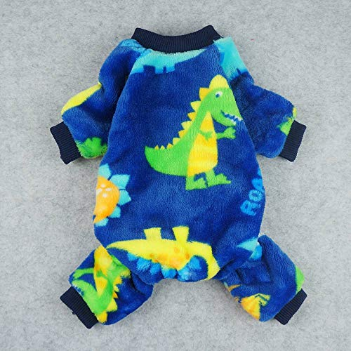 Fitwarm Dinosaur Pet Clothes for Dog Pajamas Coat Cat PJS Jumpsuit Soft Velvet Blue