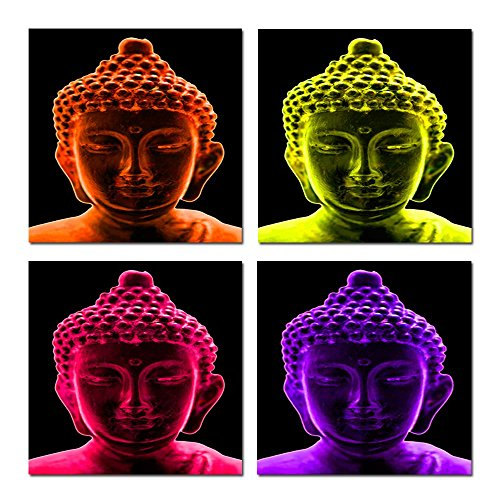 Hello Artwork Religion Buddhism Canvas Wall Art Framed Pictures Merciful Buddha Canvas Print Art Canvas Set of 4 Ready to Hang (20''x20''x4pcs/set) - 20' Buddha Statue