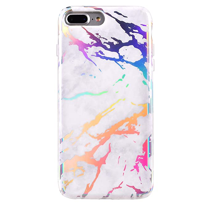 the best attitude 7cd02 84ff3 Holographic White Marble iPhone 8 Plus Case/iPhone 7 Plus Case - Premium  Protective Cover - Cute Phone Cases for Girls & Women [Drop Test Certified]