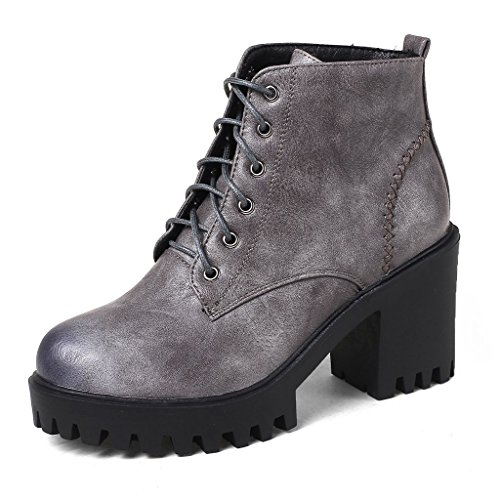 Kaloosh Women's Comfortable Block Heel Lace Up Ankle Boots Martens Shoes Gray