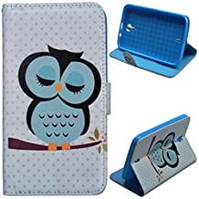 Voguecase® For BLU Studio 6.0 HD D650a,Slim Fit PU Leather Case Cover with Stand (sleeping owl) & Card Slots with Free Universal Screen-stylus