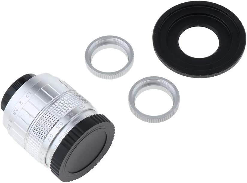 Almencla Ultra Clear Lens Combo Kit Ideal for Low-Light Applications 35mm F1.7 CCTV Lens+C Mount Adapter+2 Macro Rings for Fuji Fujifilm FX Camera Black