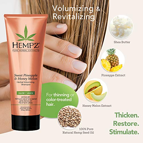 Hempz Sweet Pineapple and Honey Melon Herbal Volumizing Shampoo, 9 oz. - Natural Thickening and Repair Product for Women with Color Treated and Fine Hair, Restorative Shampoos with Volume 2