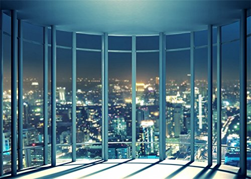 (Leowefowa Vinyl 7X5FT Viewing Room Backdrop French Windows Skyscraper Shining Lights New York City Night View Romantic Wallpaper Photography Background Lover Adults Photo Studio Props)