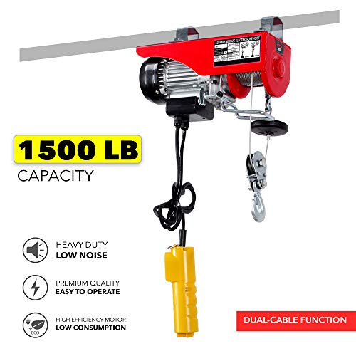 Arksen 1500 lbs Electric Overhead Motor Lift 39 Feet 5mm Thick Cable Wire Hoist Garage Engine Winch Crane Remote Control Dual Line Operation ETL Approved Copper Motor