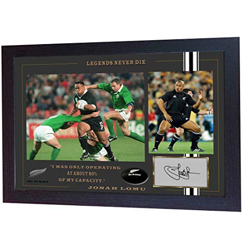 S&E DESING Jonah Lomu All Black Rugby Union Autograph Photo Signed Print Framed MDF