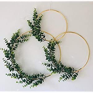 Designs by DH Metal Gold Hoop Wreath Shabby Chic Eucalyptus Succulent Green Simple Wedding Baby Nursery Rustic Farmhouse Scandinavian Home Decor 85