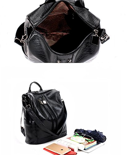 Leather Black PU Shoulder Bags Women Ladies Backpack Tote Purses Fashion for Rucksack Bags Black 3 for waBxXq