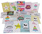 20 x Kids Birthday Cards | Multipack for Children | Girls & Boys Cute Box Set Bundle | Includes 20 x Premium White Envelopes | by VonClass