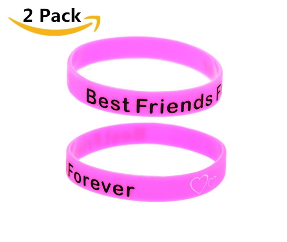 9d42959b12deb Galleon - 2 Pack Silicone Best Friends Forever BFF Bracelet Band ...
