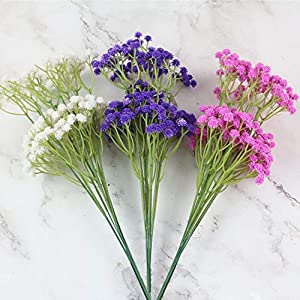 lasenersm 21 Pieces Artificial Baby's Breath Artificial Gypsophila Flowers Artificial Flowers DIY Home Garden Wedding Decoration White Pink Purple 2