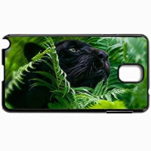 Customized Cellphone Case Back Cover For Samsung Galaxy Note 3, Protective Hardshell Case Personalized Design Jaguar Panther Fern Greens Paparotnik Black