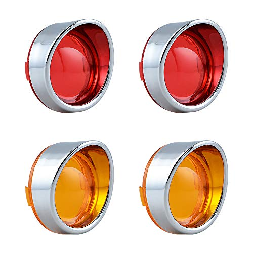 Compatible with Harley Visor-Style Bezel Bullet Turn Signal Stop Brake Blinker Lights Red Amber Lens Chrome Housing 2 Pair Lighting Accessory for Sportster Touring Dyna Softail 2000+