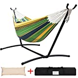Lazy Daze Hammocks Double Hammock with Space Saving Steel Stand Includes Portable Carrying Case and Head Pillow, 450 Pounds Capacity (Meadow Stripe)